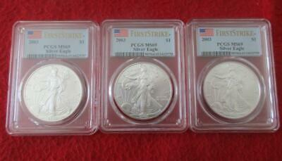 3/Three 2003 PCGS MS69 Silver Eagles First Strike Consecutive Numbers  #MF-T1052