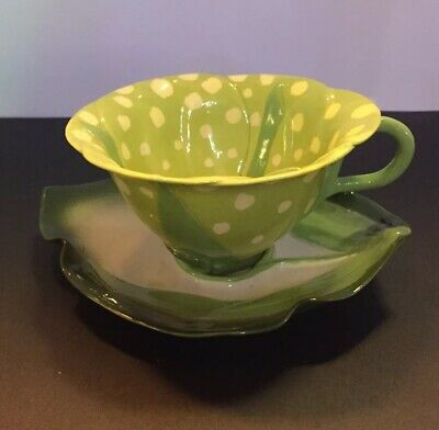Mustardseed and Moonshine Cup and Saucer Green - Limited Edition