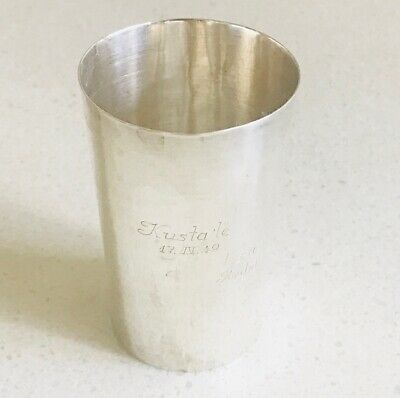 Rare European solid silver beaker or cup,  hallmarked  875