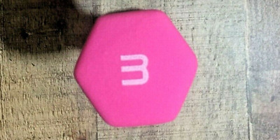 CAP Neoprene Dumbbell 3lb Pink Hex Weight Workout 3 Pound Dumbell SINGLE