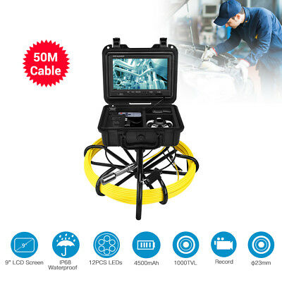 """9"""" LCD 50m Sewer Waterproof Camera Pipe Pipeline Drain Inspection System DVR 8GB"""