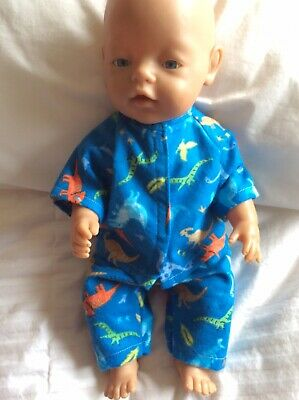 "DOLLS CLOTHES To Fit 17"" Boy Baby Born Doll - Pyjamas - Blue - Dinosaurs"