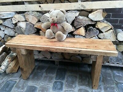 Vintage Solid Wooden Roof Beam Bench 100 x 25cm Rustic BBQ Porch Wellie Room