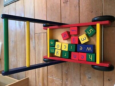 Wooden Brick Walker Trolley for Toddlers