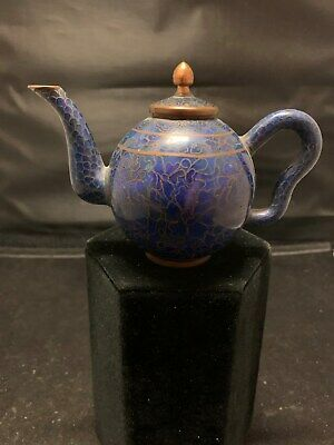 "Antique Miniature Chinese Cobalt Blue Cloisonne Enamel Teapot 3 1/4""H Beautiful!"