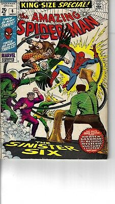 Amazing Spider-Man Annual 6 Sinister Six VG+ 1969 Double size