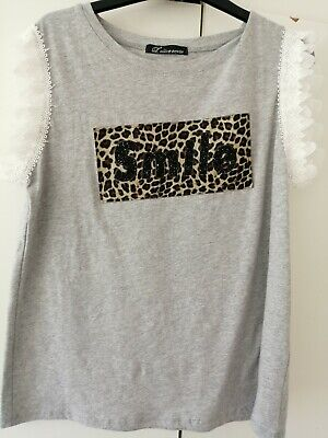 Girls Grey Sleeveless Top, Frill Detail And Leopard Print 'smile' Logo In Front