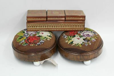 Antique Victorian Wooden Jewellery Box & Pair Of Floral Embroidered Footstools
