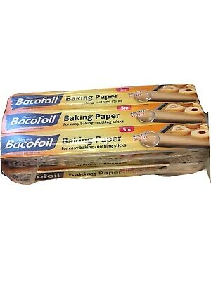 Bacofoil 3 X Parchment Baking Paper Cakes Cookies Biscuits Oven Bread 5mX30cm