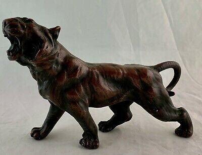 Vintage Roaring Tiger Or Lion Wild Cat Figurine Pottery Bronze Painted Statue