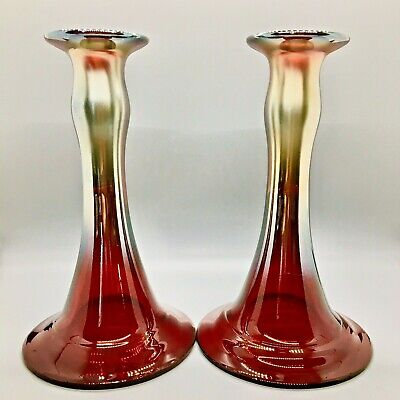 Antique Dugan Carnival Glass ** RED ** Mae West candlesticks**gorgeous**