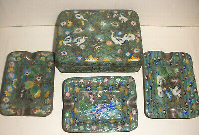Antique 19thc Chinese Tobacco Smoking set cloisonne enamel cigarette box ashtray
