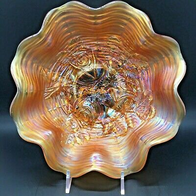 Northwood Antique Carnival Glass Marigold ruffled bowl Rose Show***pretty**