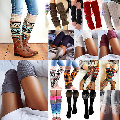 Womens Girls Stocking Over Knee High Leg Warm Winter Knit Long Boot Thermal Sock