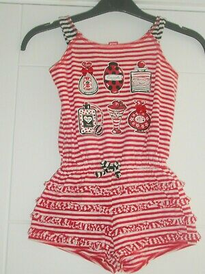 Kate Mack Girl's Red/White Striped Playsuit Age 5