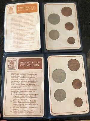 2 Sets Of Britian FIRST Decimal Coin Set Presentation Collection Uncirculated