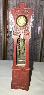 "Rare Vintage Dollhouse Red Wooden Grandfather Clock 8.25"" Tall x 1.75"" Wide"