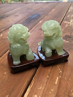 Carved Green Jade Foo Dog Stone Sculpture w/ Stand (2)