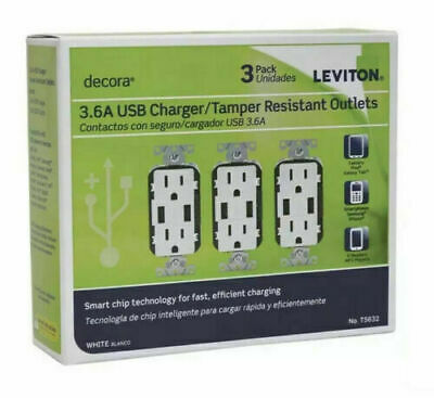 3 PCK Leviton T5632-3BW 3.6A USB Charger, Tamper Resistant Decora Outlets