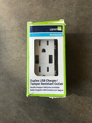 Leviton T5632-W Residential Duplex USB Charger/Tamper Resistant Outlet (White)