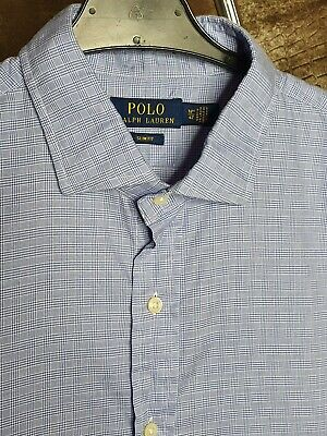 Polo By Ralph Lauren Mens Shirt Blue White Checked Large Slim Fit Long Sleeve