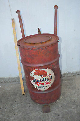 vintage Mobil oil Drum & Dolly
