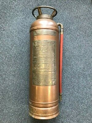 Vintage Red Star Fire Extinguisher, Empty, Copper & Brass, Great Condition,