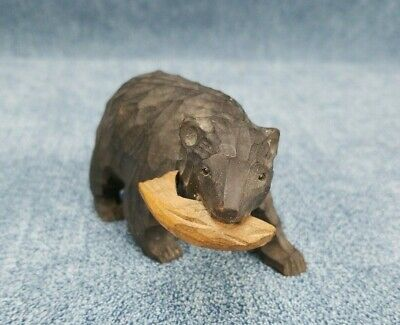 Vintage Wooden Hand Carved Black Bear with Fish in Mouth Nice Miniature Figure