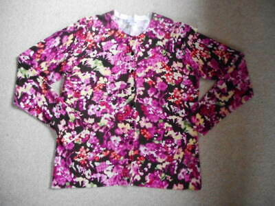 Womens Sweater-CHARTER CLUB-purple/brown/white floral rayon blend cardigan ls-XL