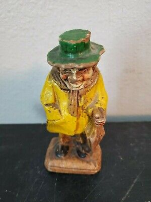 """4 """" Hand Carved Wooden old woman yellow Vintage green hat umbrella"""