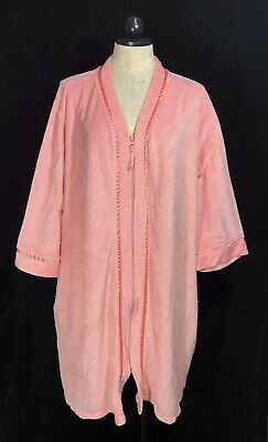 WOMAN'S CROFT & BARROW PINK SOFT TERRY CLOTH ZIP UP FRONT ROBE Size 3XL