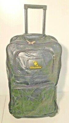 """22"""" Carry On Leather Roller Bag Seville Luggage Travel Many Pockets Wheels EUC"""