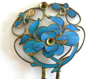 Large Qing Dynasty Kingfisher feather Hair Pin Antique VINTAGE Tian-tsui  點翠