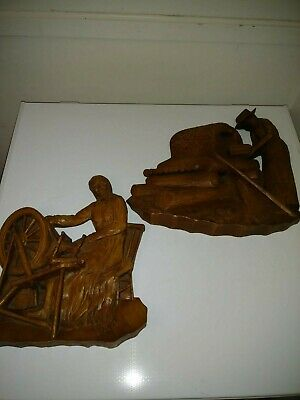 Vtg 3-D Traditional Quebecois Woman Spinning Wheel - Baking Bread Diorama Signed