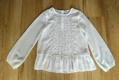 Pretty M&S Cream Embroidered Blouse ~ Age 10 - 11 Years