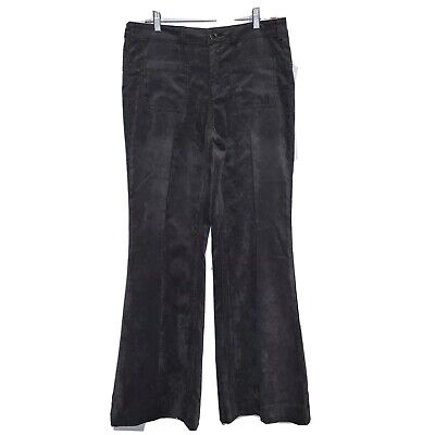 Free People Size 30 Gray Velvet Bell Bottom Flare Pants Womens Patch Pockets