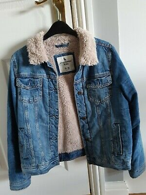 Ambercrombie and fitch girls Denim Jacket With Fur Collar Age 15 - 16