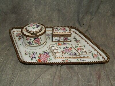 Antique Samson French Porcelain INKWELL desk set w/tray, pen stand & box