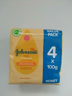 Johnson's Baby Honey Soap With Honey Extract 4x100g Pack 0% Alcohol
