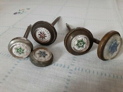 Vintage Antique Victorian Glass & Wood Rosettes Curtain Tie-Backs Star Drape