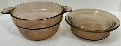 Visions Corning Ware Cookware Double Boiler Amber 2 Pieces No Lid