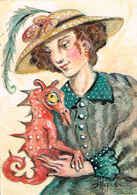 ACEO original art hat lady pet dragon hat fun fantasy victorian TBARTSARTIST