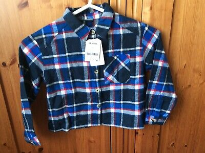 BNWT Boys Next Navy Check Long Sleeve Shirt Size 5yrs
