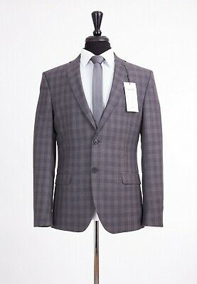 Men's Grey Check Slim Fit Suit Limehaus Bennett 40S W34 L29 RRP£199