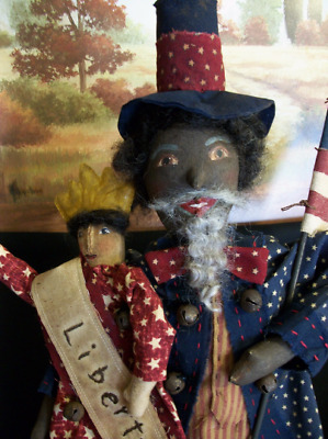 PATTERN,Primitive dolls,Americana,black folk art,Uncle Sam, Dumplinragamuffin,