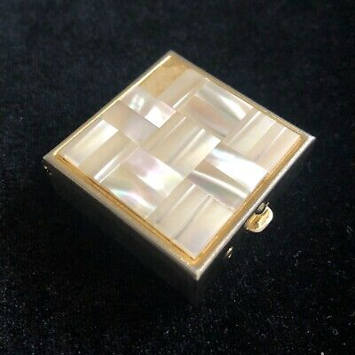 Vintage Pill Box Gold Tone Mother of Pearl Abalone Inlaid Square