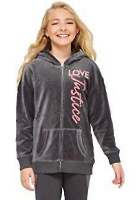 NWT JUSTICE Girls Full Zip Velour Hoodie Jacket Grey/Pink Sparkly SELECT SIZE