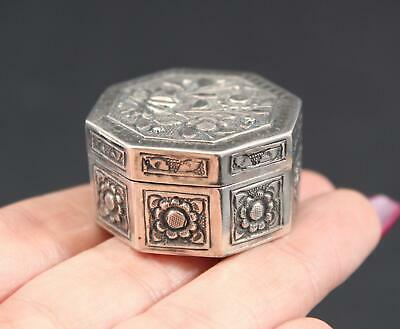 Antique Hallmarked Chinese Silver Deeply Hand Chased Floral Trinket Pill Box, NR