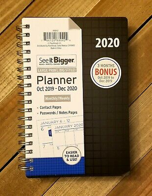 See it Bigger Oct 2019 to Dec 2020 Monthly Weekly Planner Agenda Black 6.5x4.5