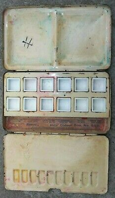 OLD ARTISTS WATERCOLOUR TIN - REEVES PATENT COLOUR BOX No 53B